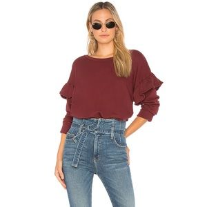 Current/Elliot The Ruffle Sweatshirt Cabernet XS